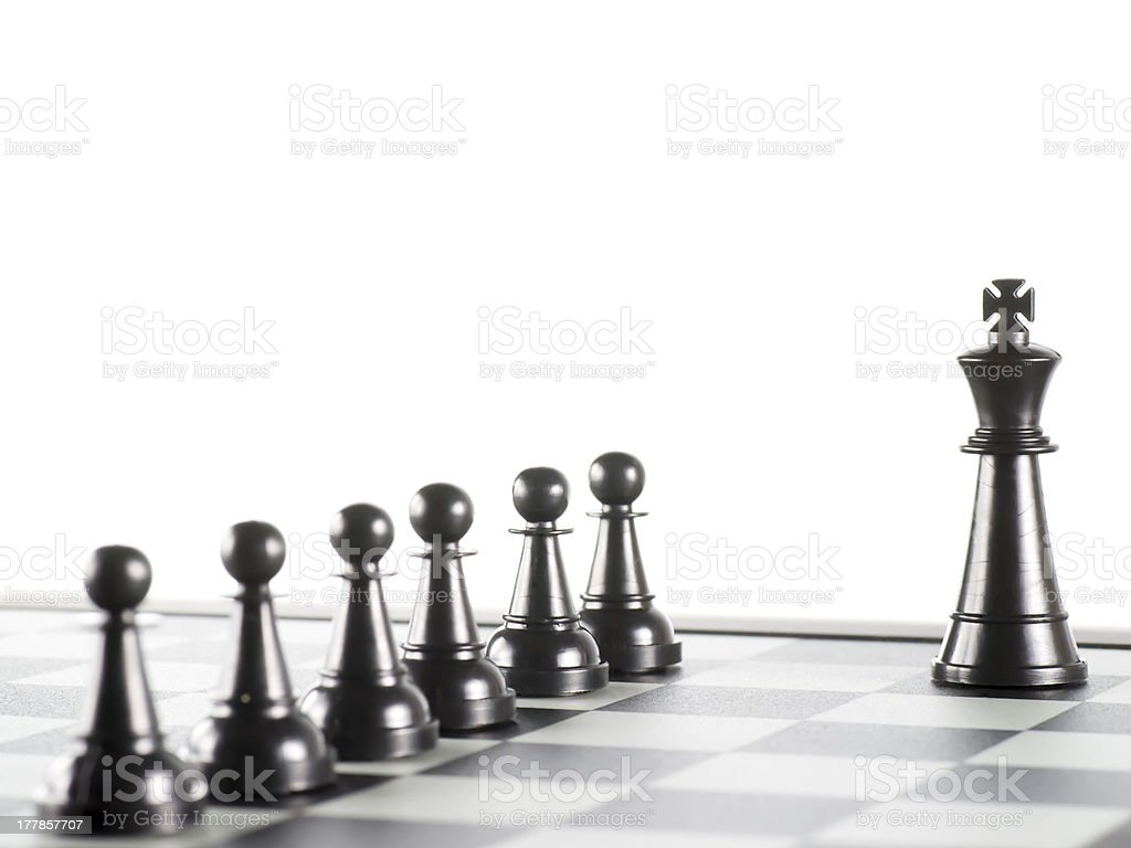 Black King and his Pawns royalty-free stock photo