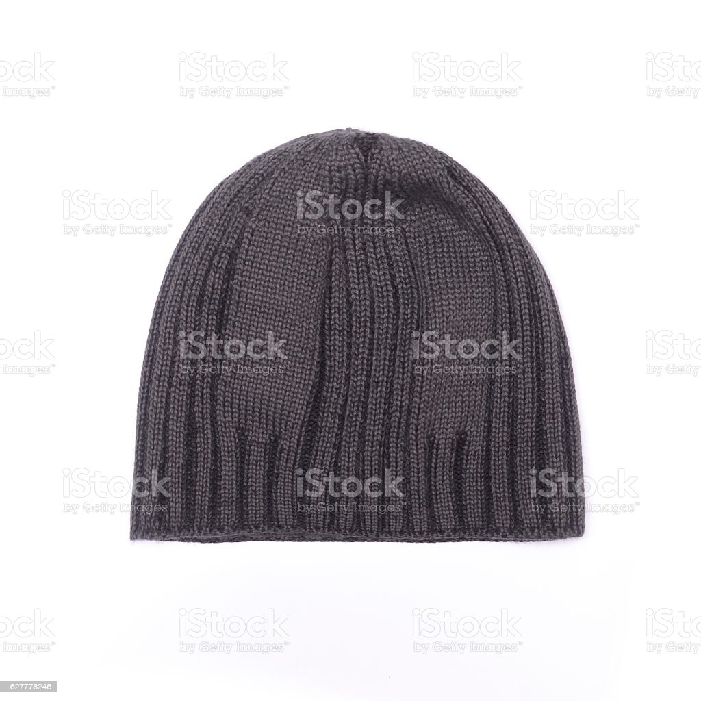 black knitted men's hat isolated on white stock photo