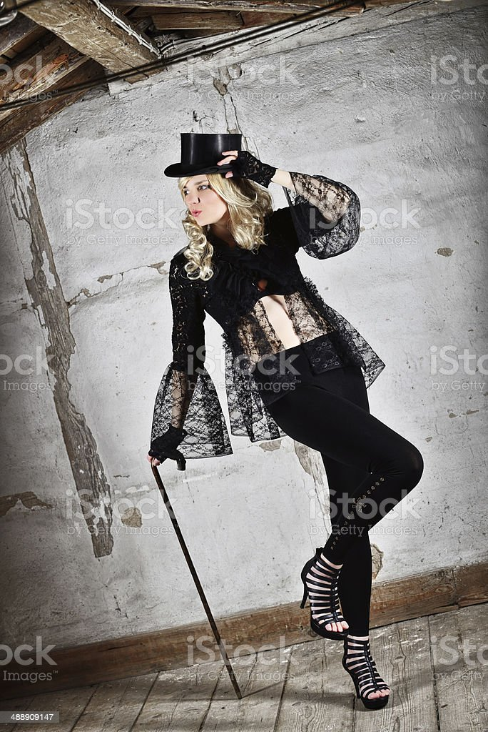Black Lace Fashion Blond Woman Retro Style stock photo