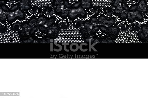 istock Black lace isolated on white background. Frame 907582074