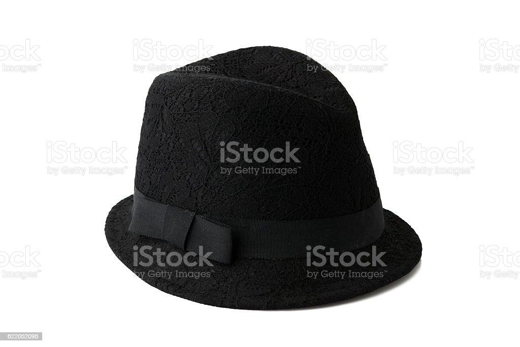 Black Lacework fashion hat on background stock photo
