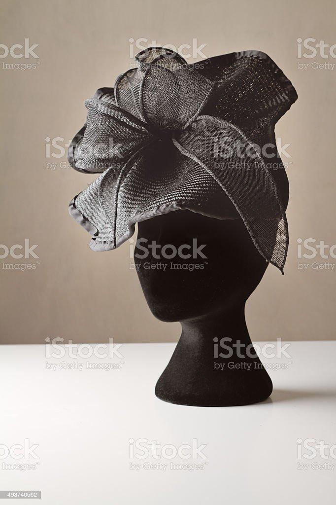 Black ladies dress accessory hat stock photo