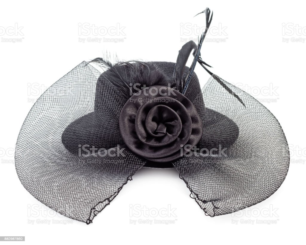 Black ladies hat isolated stock photo