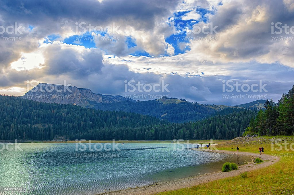 Black lake in Durmitor national park in Montenegro, Europe. stock photo