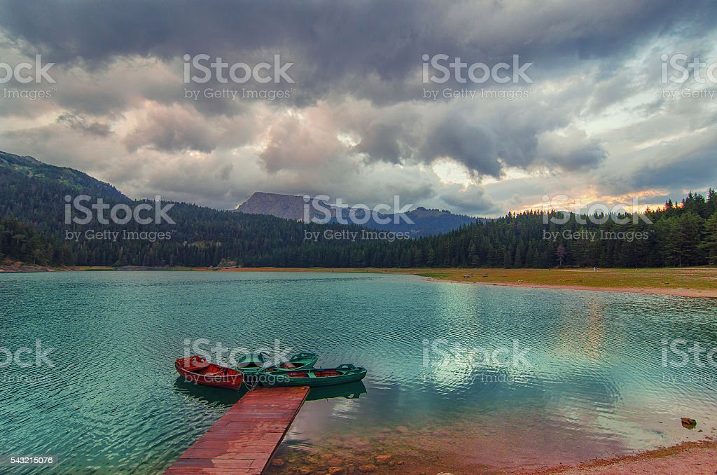 Black lake in Durmitor national park in Montenegro, Europe stock photo