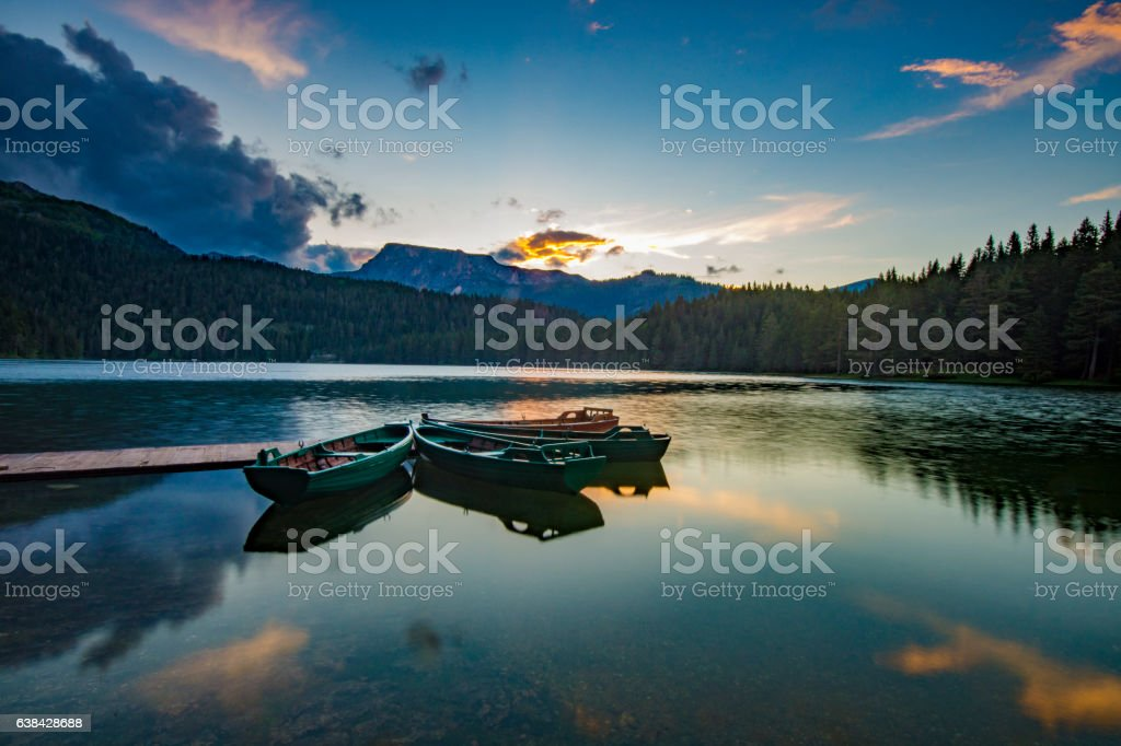 Black Lake in the national park Durmitor in Montenegro stock photo