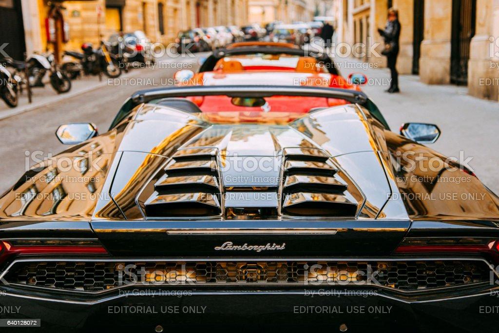 Black Lamborghini Huracan stock photo