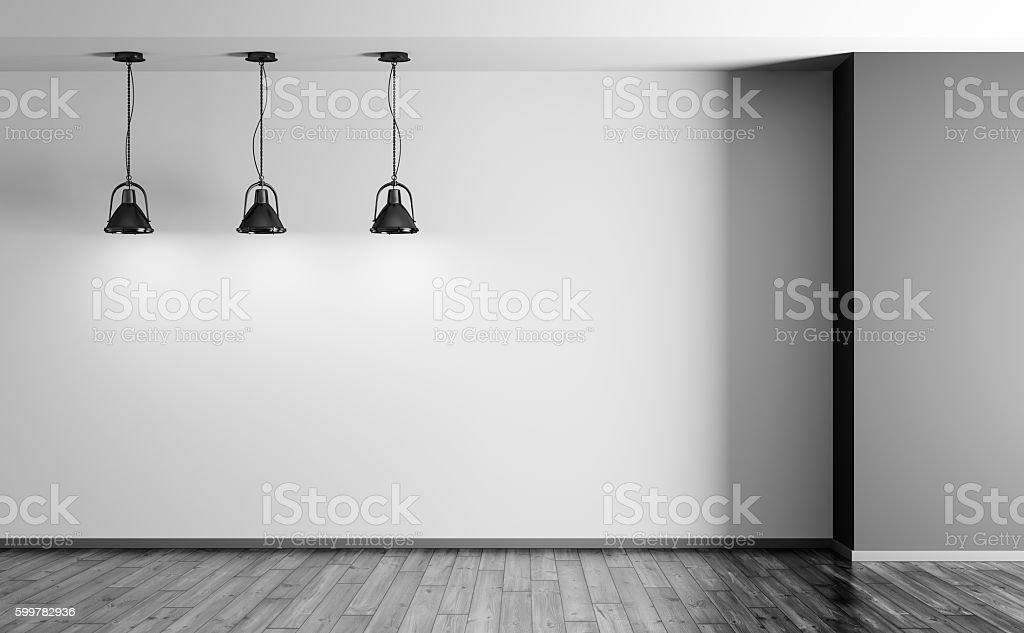 Black lamps in room 3d rendering stock photo