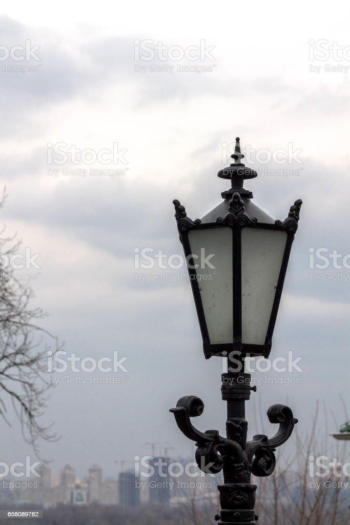 Black lantern on a background of dark sky. royalty-free stock photo