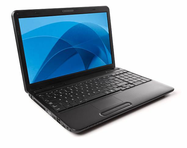 Schwarzes laptop, isoliert auf weiss mit Blau Bildschirmschoner – Foto