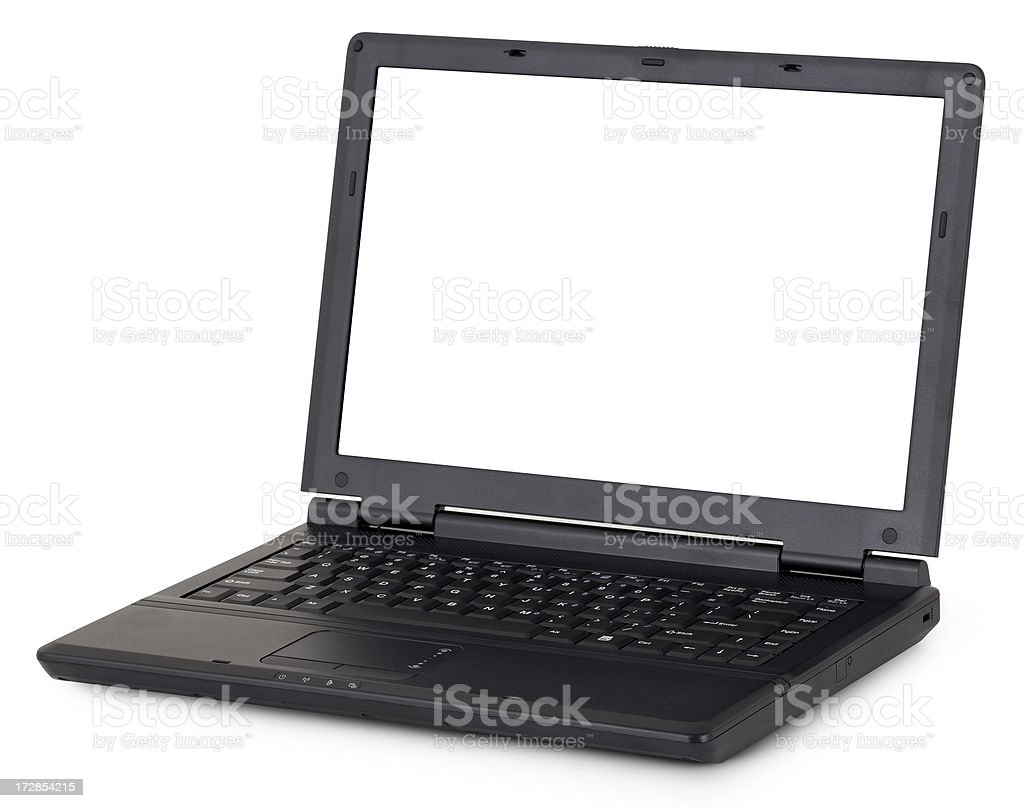 Black laptop  (Clipping Path) stock photo