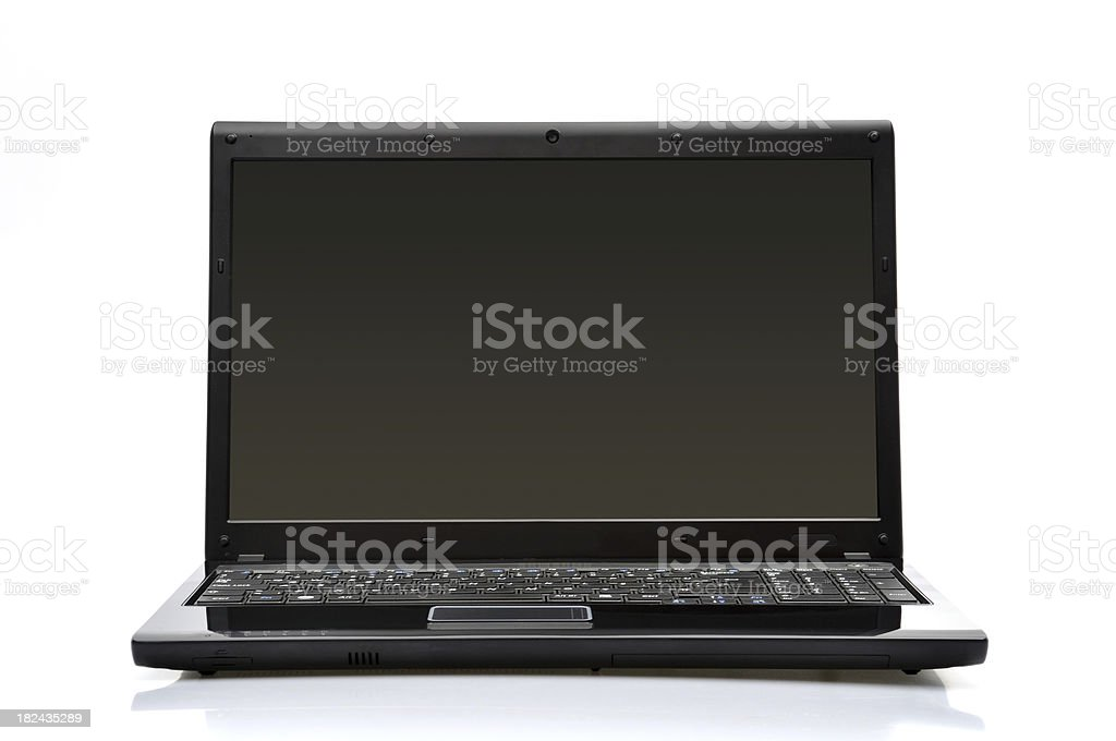 Black laptop with blank screen on white background stock photo