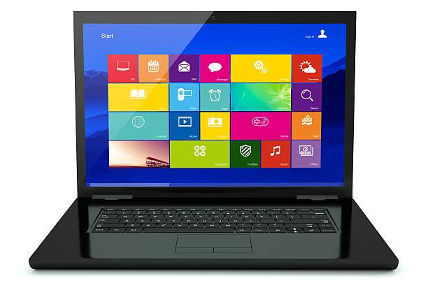 schwarzes laptop mit symbol - tastatur bilder stock-fotos und bilder