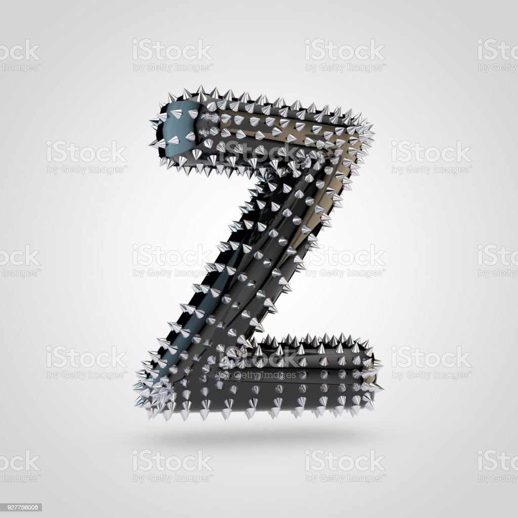 Bdsm black latex letter z uppercase with chrome spikes isolated on bdsm black latex letter z uppercase with chrome spikes isolated on white background royalty free buycottarizona Gallery