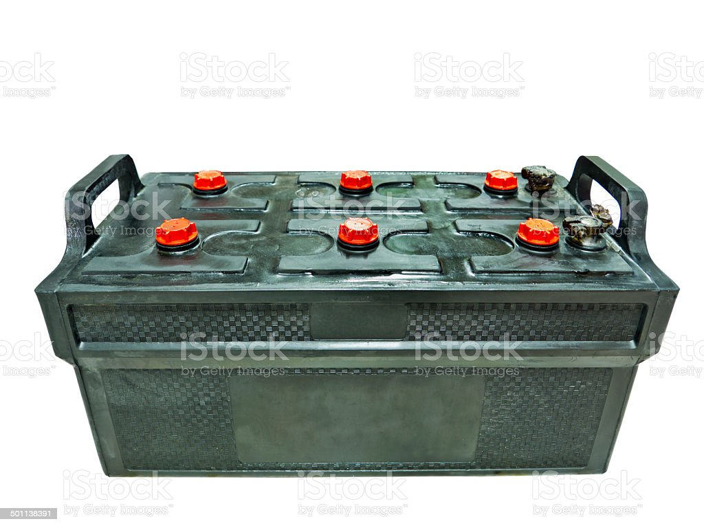 black lead acid battery isolated on white royalty-free stock photo