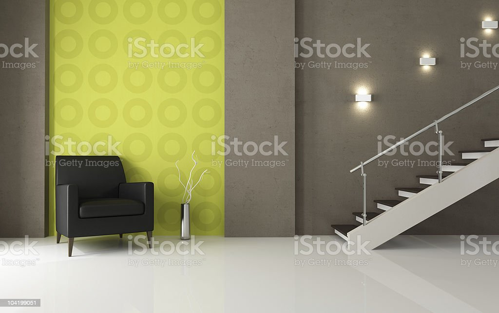 black leather armchair and staircase royalty-free stock photo
