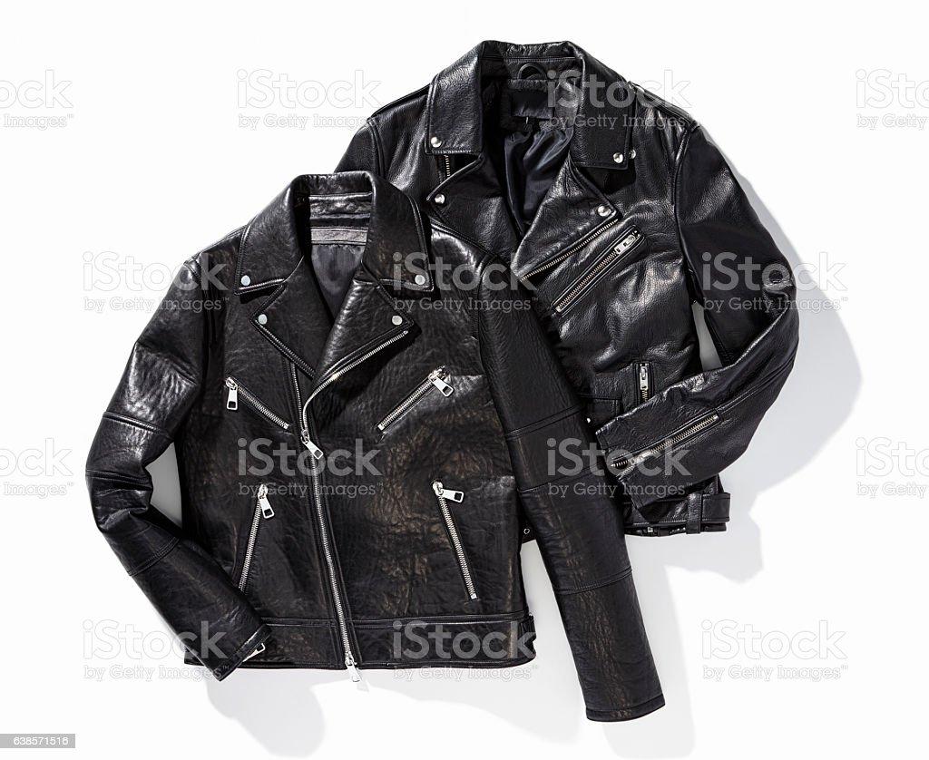 Black leather biker jackets stock photo