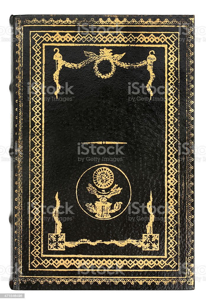 Black leather Book with gold frame stock photo