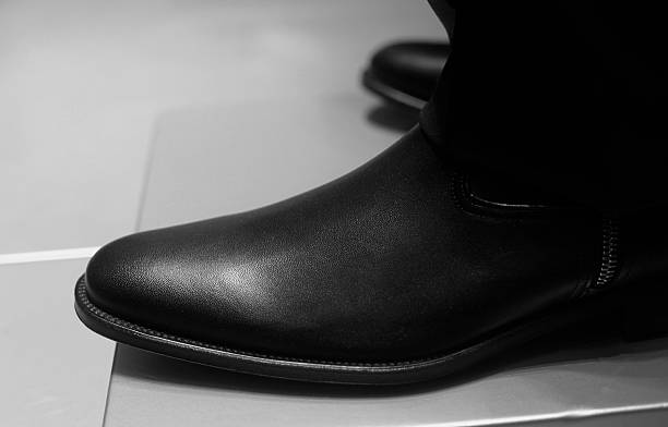 best wholesaler the sale of shoes in stock Black Leather Boot Xxl Stock Photo - Download Image Now - iStock