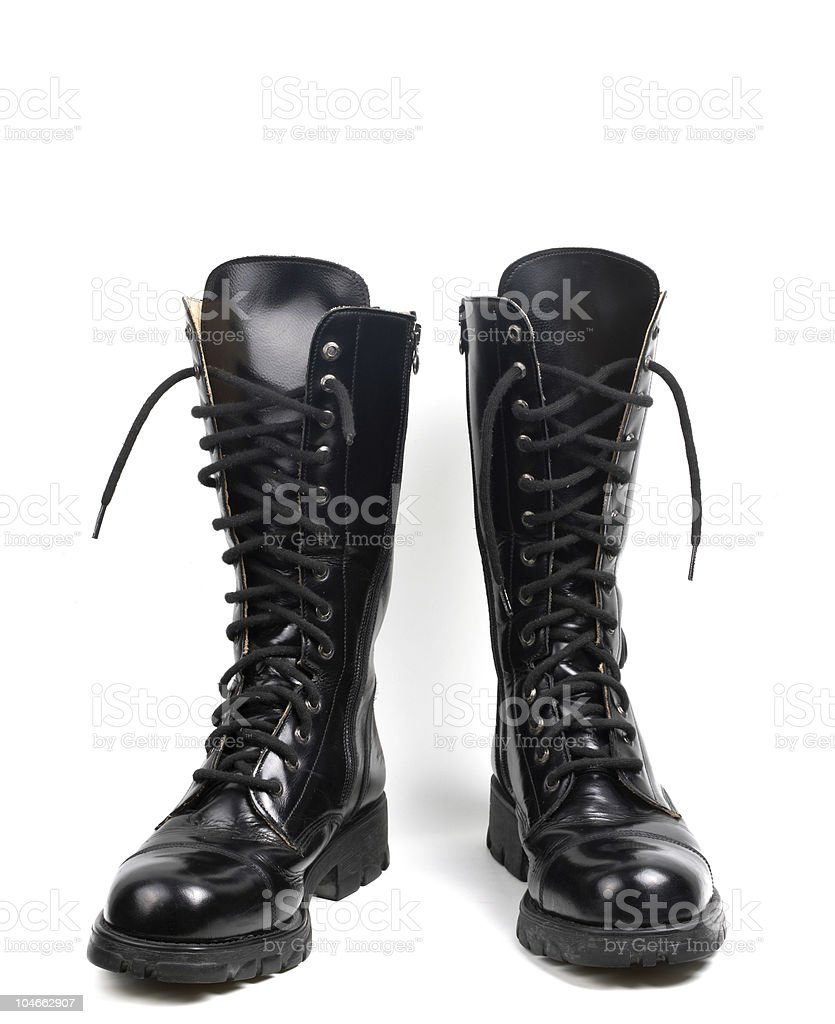 Black leather boots, isolated stock photo