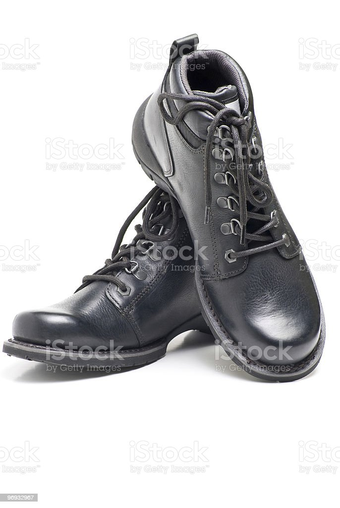 Black leather boots. royalty-free stock photo
