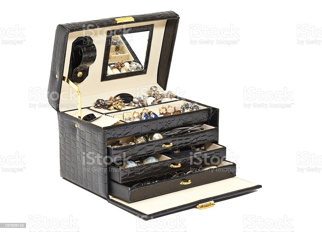 Black Leather Box For Cosmetic Or Jewelry Stock Photo
