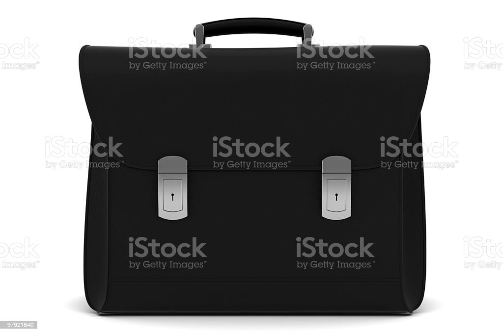 black leather briefcase isolated on white background royalty-free stock photo