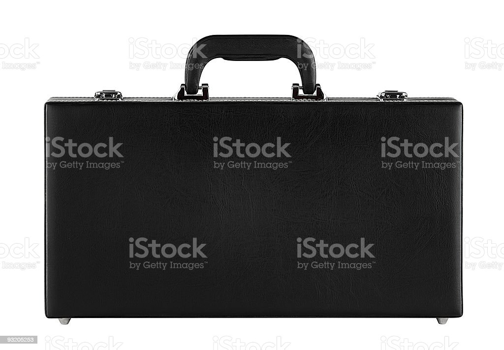 Black leather briefcase on white royalty-free stock photo