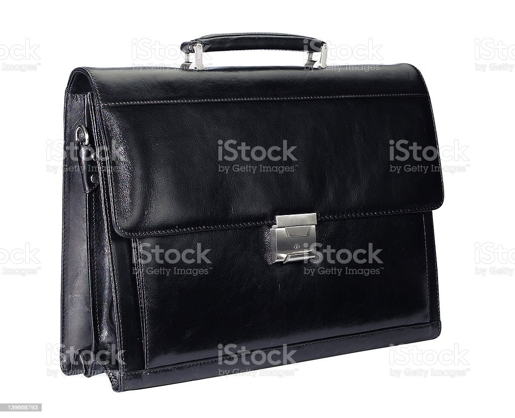 black leather briefcase royalty-free stock photo