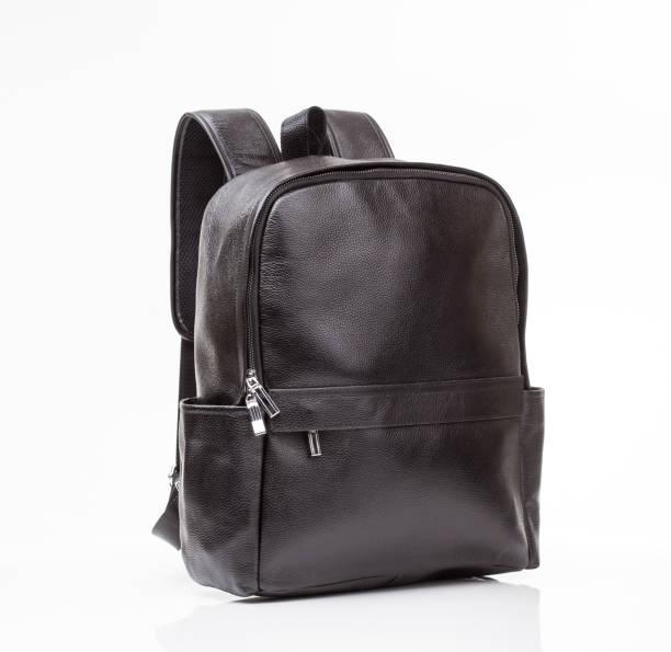 black leather  casual backpack - cartella scolastica foto e immagini stock