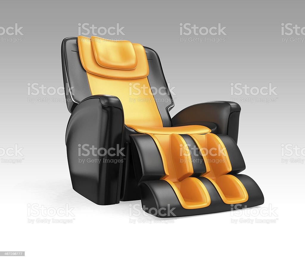 Black leather comfortable massage chair on gradient backgroundh stock photo