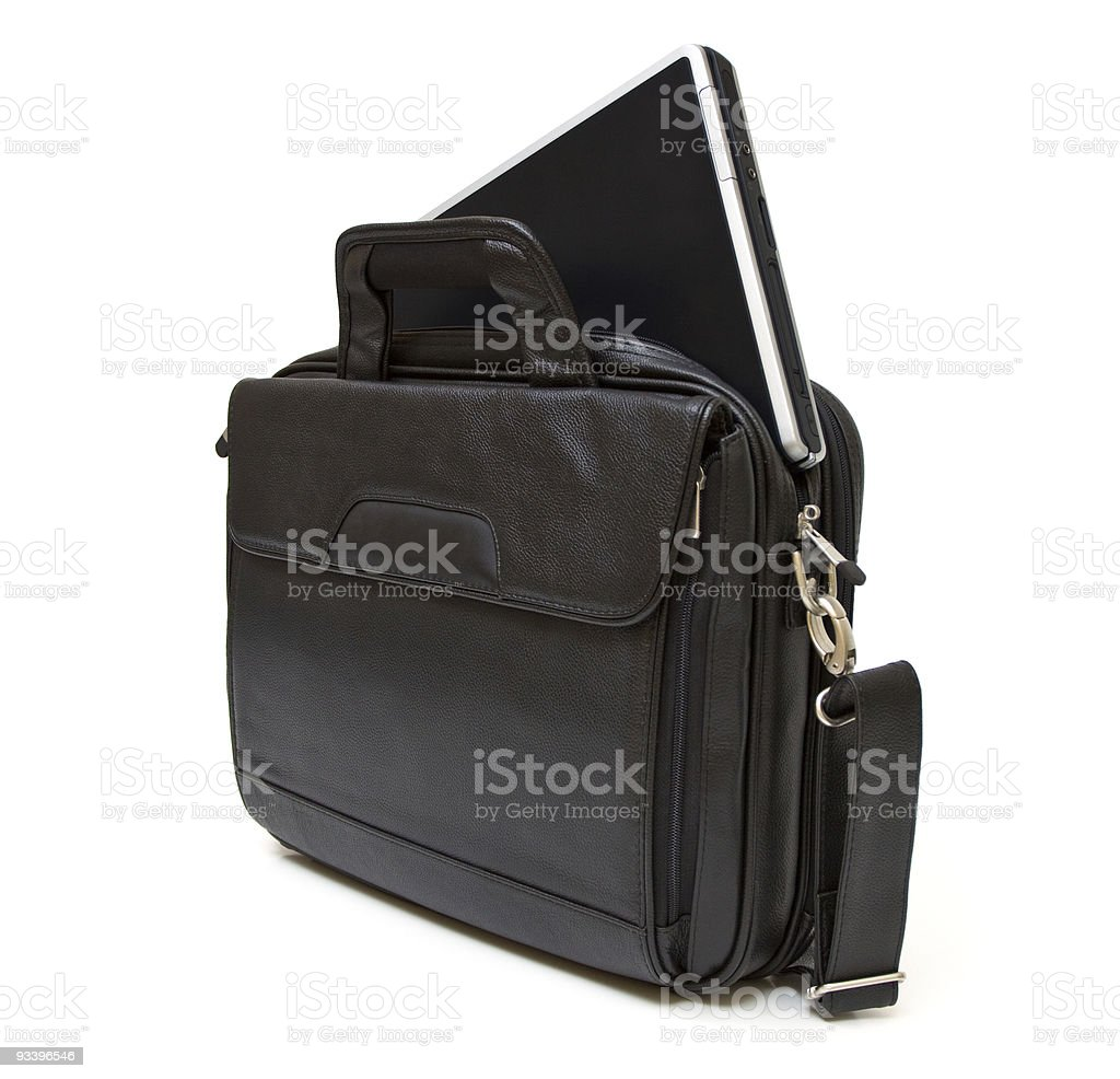 Black leather computer bag with laptop stock photo