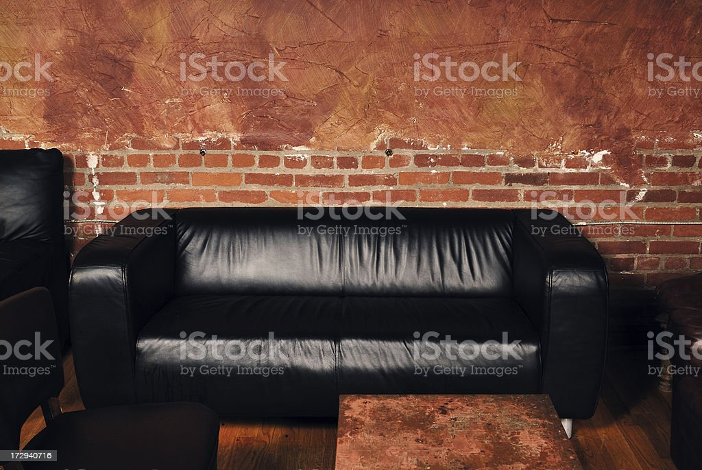 Black Leather Couch royalty-free stock photo
