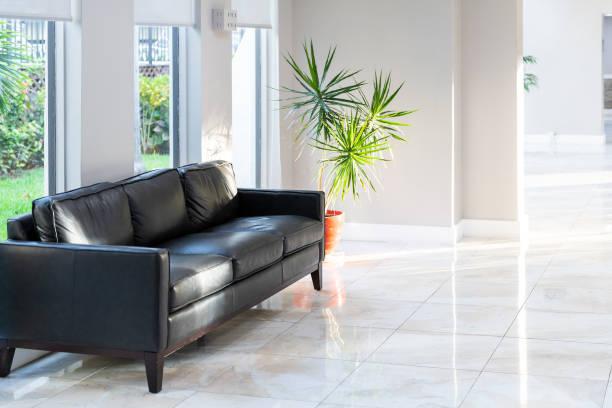黑色真皮沙發, 沙發與綠色盆栽棕櫚樹植物在壺與瓷磚, 在大廳瓷磚地板, 房間, 大廳的住宅, 公寓, 公寓樓, 建築, 複雜的明亮, 自然採光 - 大廈樓層 個照片及圖片檔