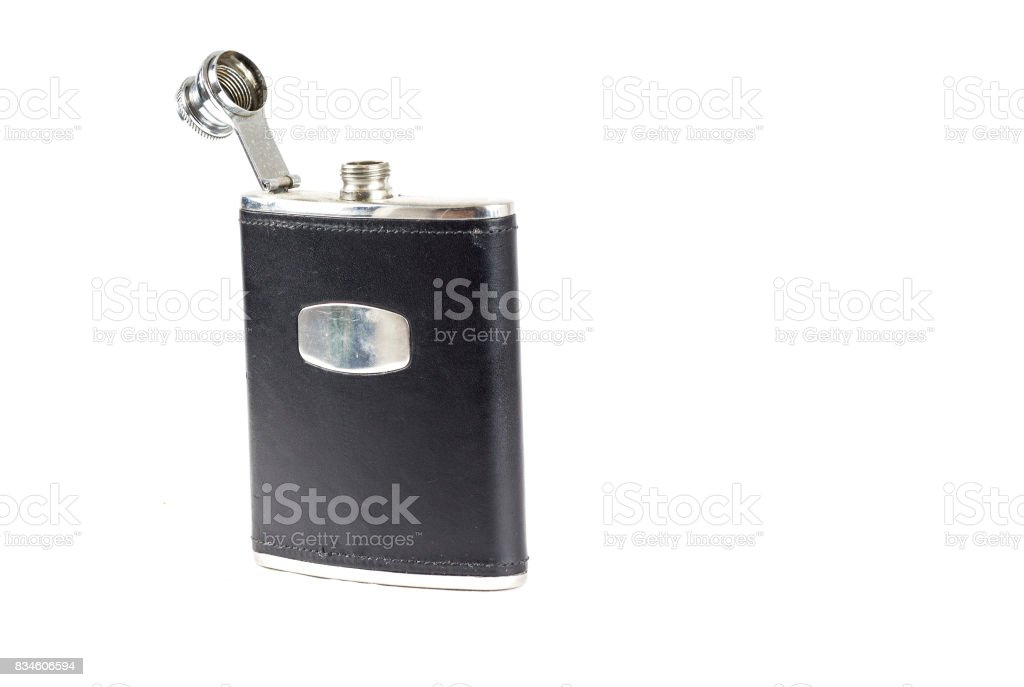 Black Leather covered hip flask with the lid open stock photo