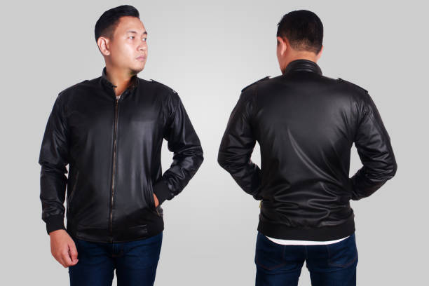 Black Leather Jacket Mockup Template Blank leather jacket mock up, front, and back view, isolated on grey. Asian male model wear plain black long sleeved leather jacket mockup. Clothes design presentation for print leather jacket stock pictures, royalty-free photos & images