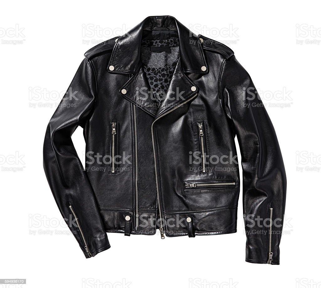 black leather jacket stock photo