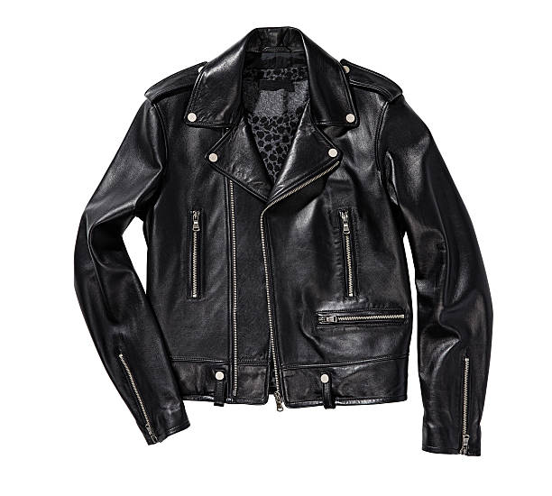 black leather jacket - jacket stock photos and pictures