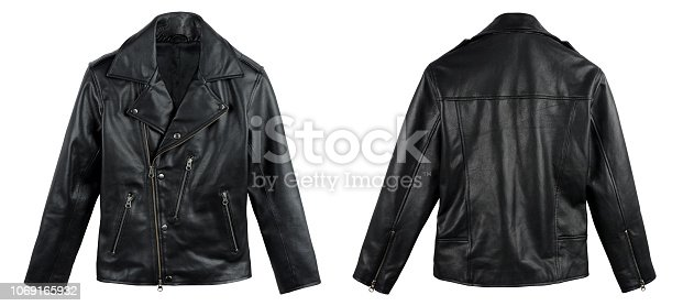 Black leather jacket shot from front and back side on white background