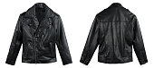 Black Leather Jacket Shot From Front And Back Isolated On White