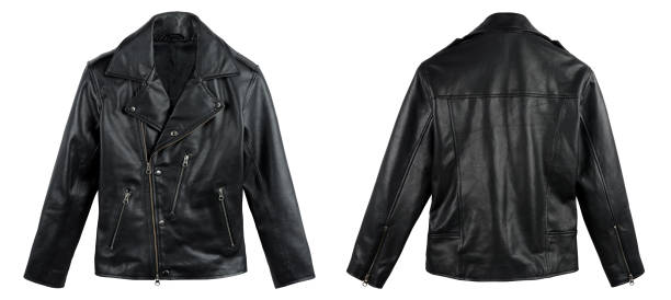 Black Leather Jacket Shot From Front And Back Isolated On White Black leather jacket shot from front and back side on white background leather jacket stock pictures, royalty-free photos & images