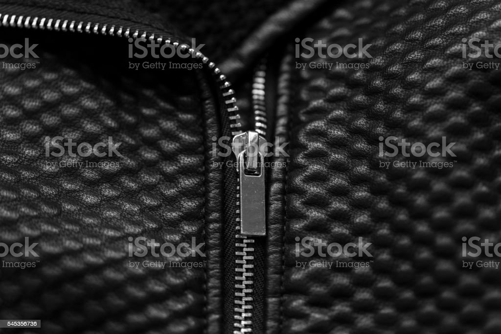 Black leather jacket zip stock photo