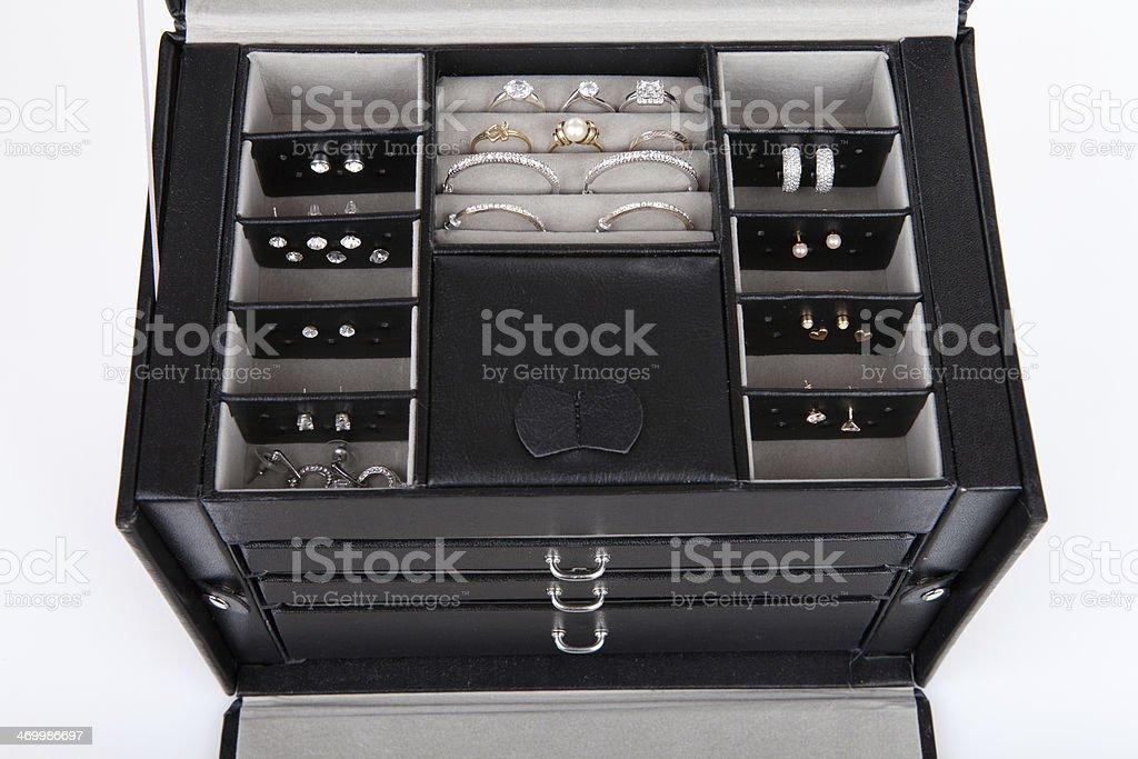 Black leather jewelery box stock photo
