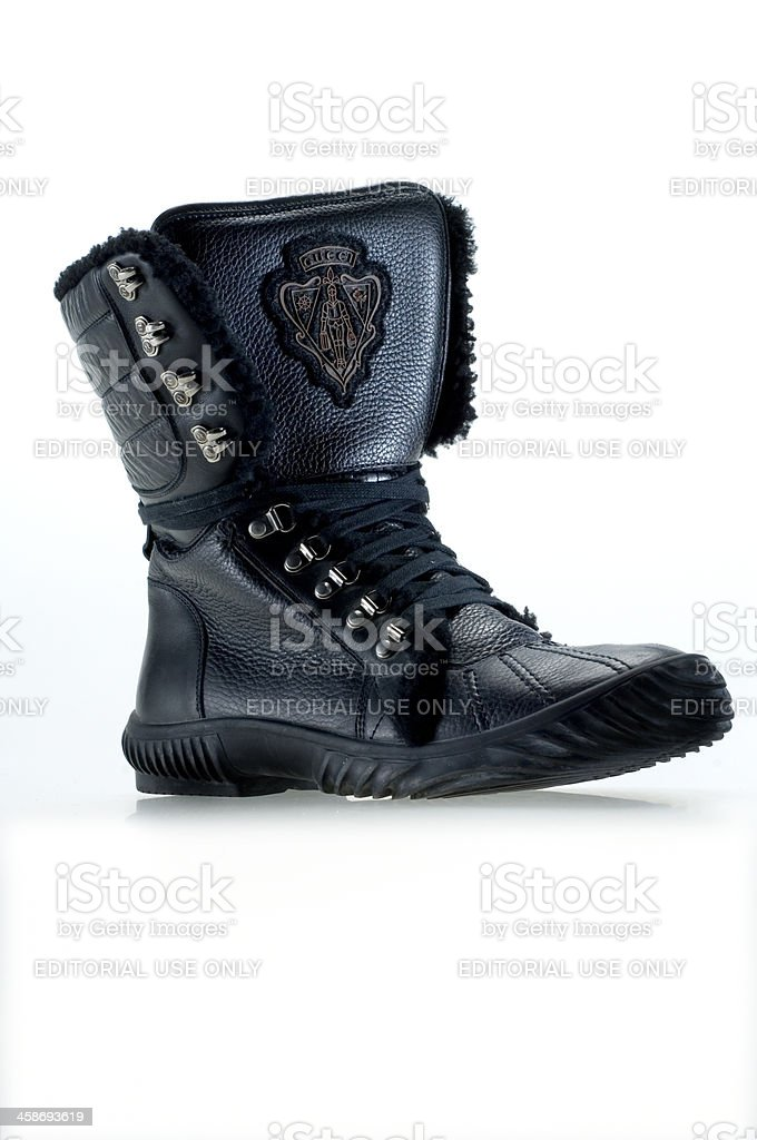 black leather lace biker boot by Gucci stock photo