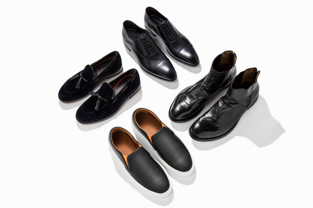black leather men shoes - flat shoe stock pictures, royalty-free photos & images