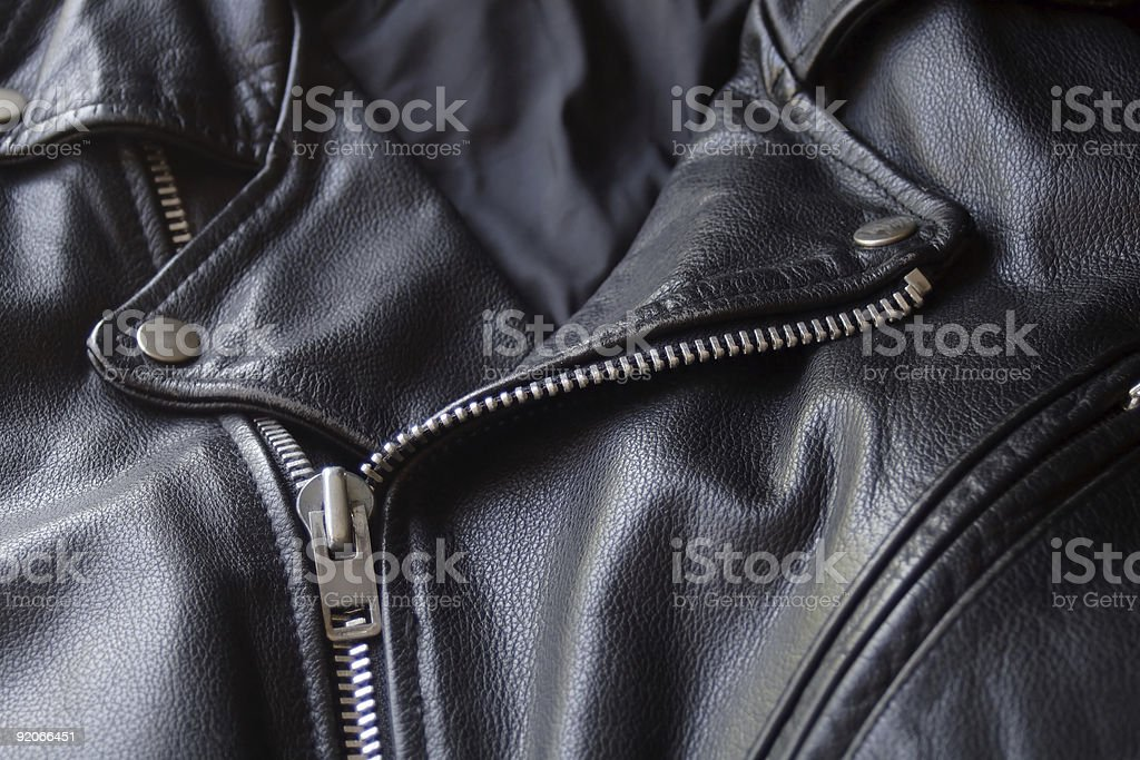 Black Leather Motorcycle Jacket stock photo