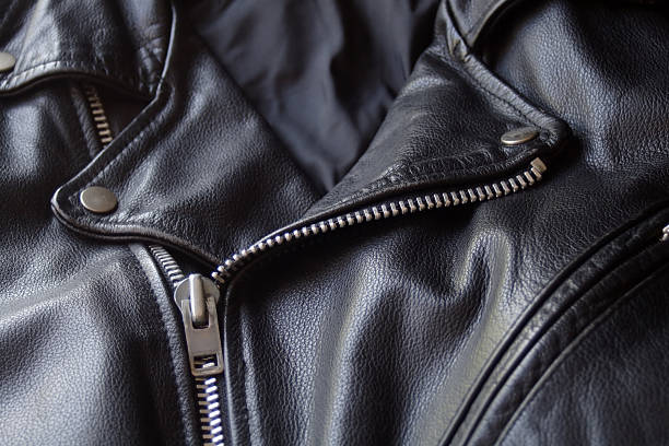 Black Leather Motorcycle Jacket  leather jacket stock pictures, royalty-free photos & images