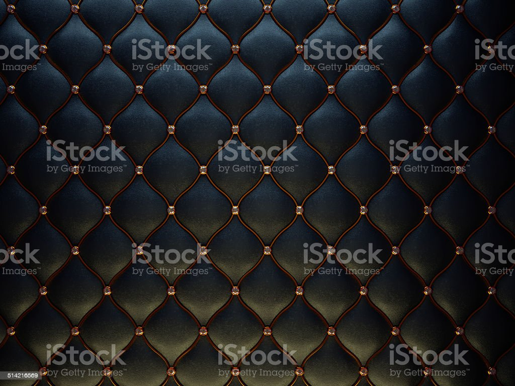 Black leather pattern with golden wire and diamonds stock photo