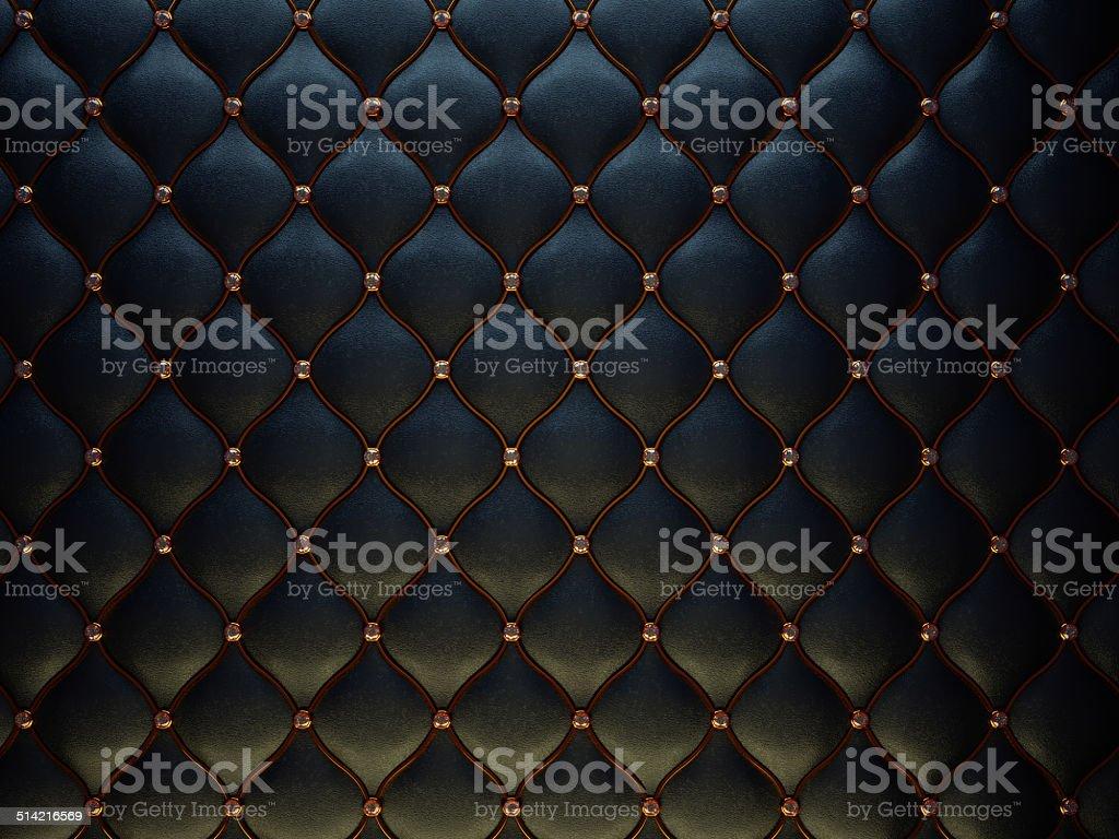 ブラックのレザーパターンにゴールドのワイヤとダイヤモンド ストックフォト