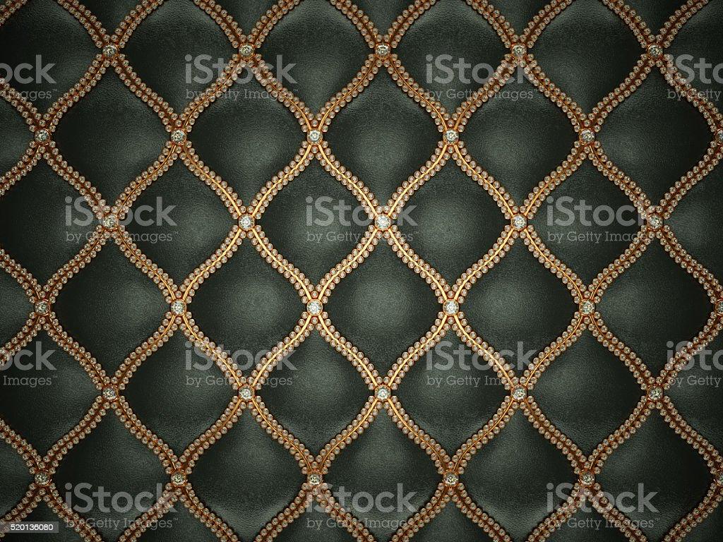 ブラックのレザーパターンにゴールドのワイヤと宝石 ストックフォト